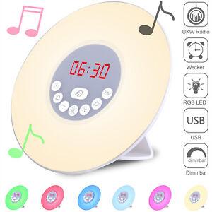 monzana® Lichtwecker LED Wake up Light Sonnenaufgang Radio Wecker Stimmungslicht