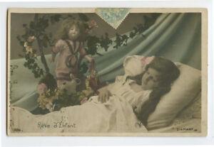 c-1905-Children-Child-SLEEPING-GIRL-w-DOLL-photo-postcard