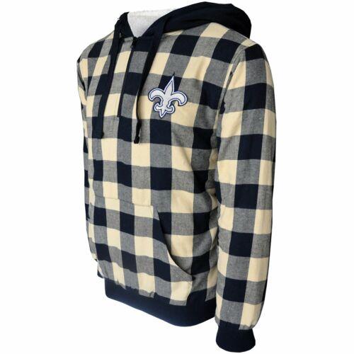 New Orleans Saints Sherpa Flannel Half Zip Hoody