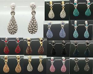 Tear-Drop-Earrings-2-8cm-Long-Crystal-Wedding-Formal-Silver-Gold-Gray-18-Colour