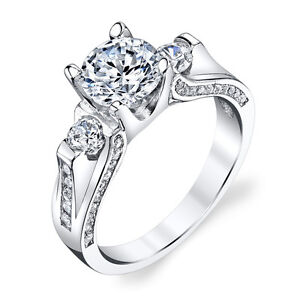 Sterling Silver  Stone Contemporary Cubic Zirconia Engagement