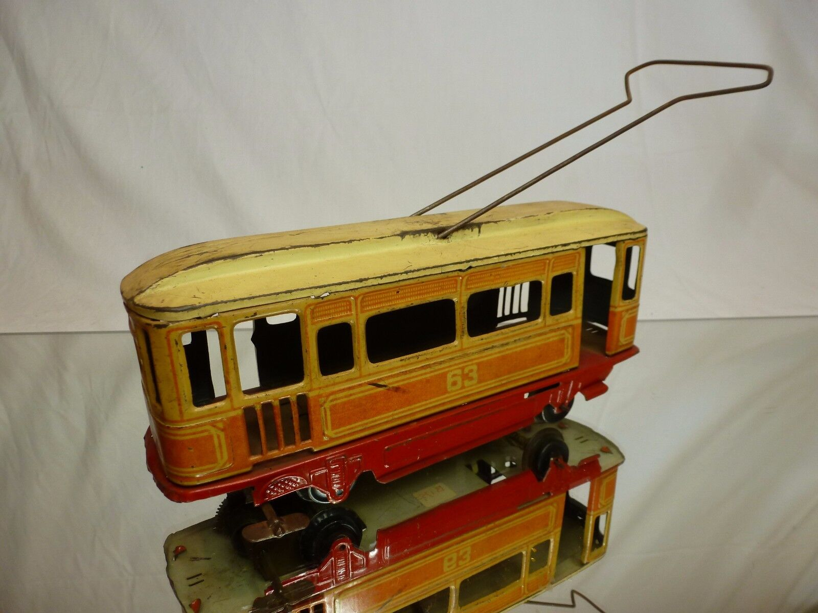 VINTAGE TIN TOY WINDUP TRAM No 63 - rosso + + + CREAM L22.0cm - NICE CONDITION 6042ec