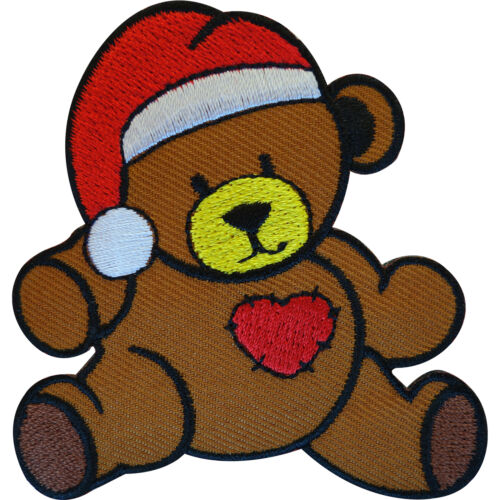 Embroidered Teddy Bear Iron On Patch Sew On Badge Christmas Love Heart Santa Hat