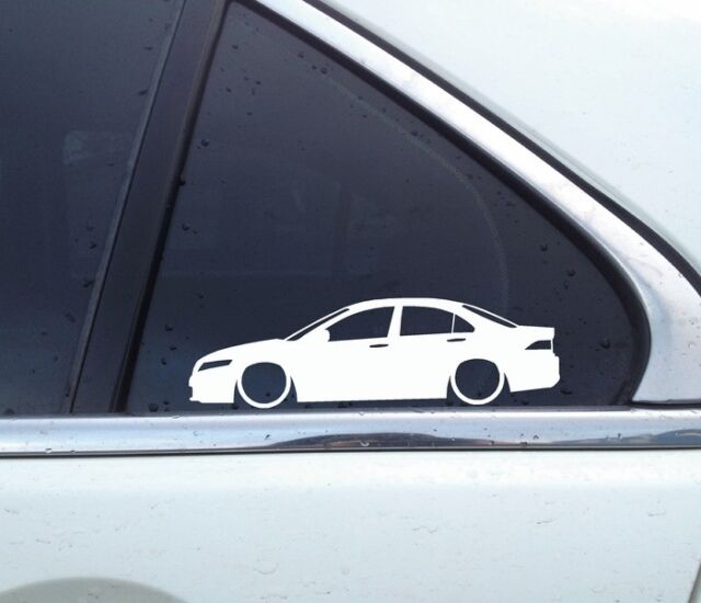2X Lowered Car Outline Stickers