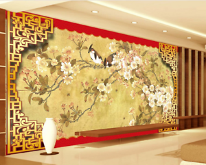 Papel Pintado Mural De Vellón Pájaro De Flores Retro 2 Paisaje Fondo De Pansize
