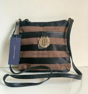 NEW! TOMMY HILFIGER BROWN BLACK MESSENGER CROSSBODY SLING BAG PURSE $65 SALE