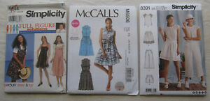 Lot-of-3-Sewing-Patterns-UNCUT-FF-shorts-skirt-pants-shirt-dress-PLUS-SIZE
