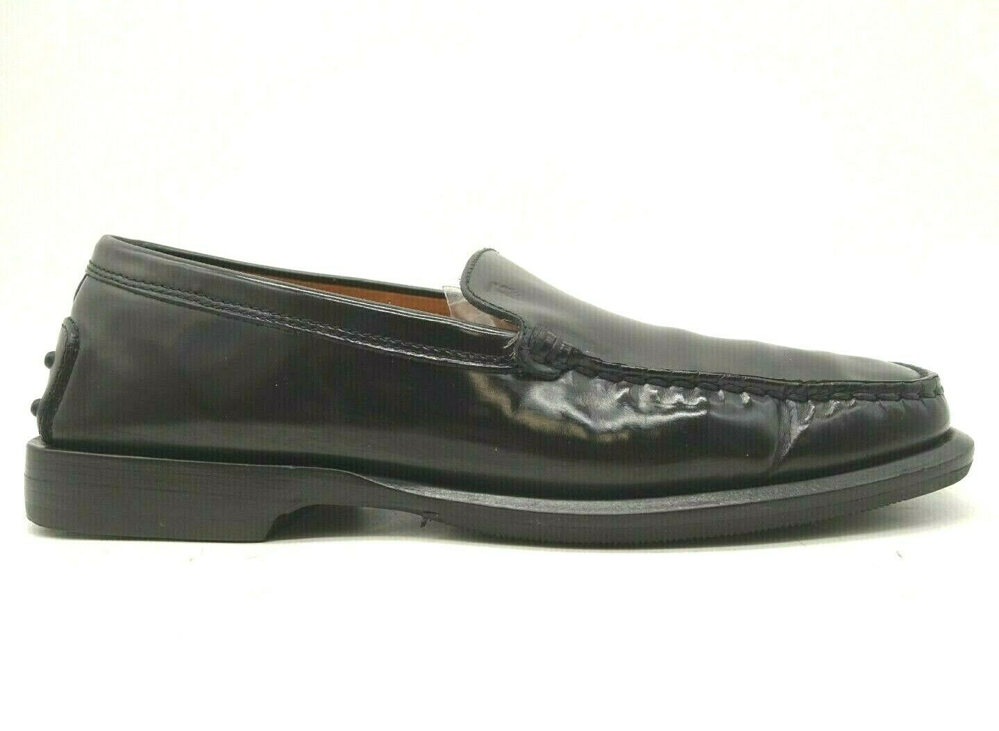 Tods Logo Black Patent Leather Slip On Low Heel Driving Loafers Shoes Women's 5