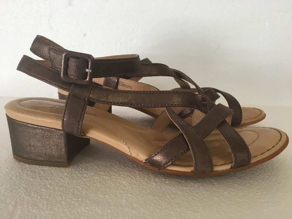 BORN CROWN Brown Shimmer Leather Strappy Sandals Size 9