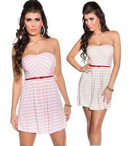 sexy-mini-abito-vestito-donna-con-cinturino-scollo-fascia-bandeau-righe-nuovo