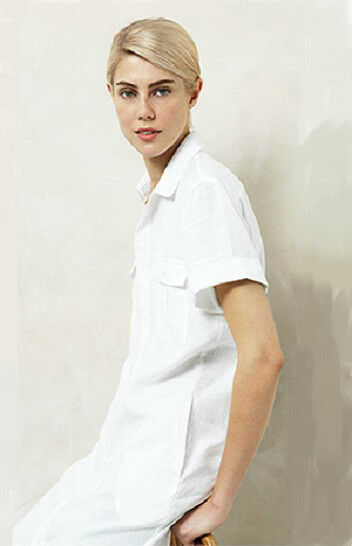 NWT  179 COUNTRY ROAD Trenery Pure LINEN Utiliy Shirt Robe with Belt blanc rose