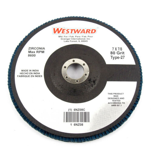 """Type 27 7/"""" Abrasive Flap Disc 80 Grit 7//8/"""" Mounting Hole 10 Pack"""