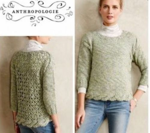 Anthropologie Braided and Crochet  Sweater by Hand Knit by Dollie  Sz.S New NWT