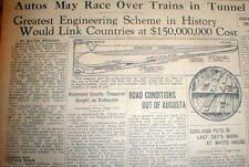 1929 newspaper headline & engraving Plan to build CHUNNEL English Channel Tunnel