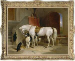 Old-Master-Art-Antique-Oil-Painting-animal-Portrait-horse-dog-on-canvas-30-034-x40-034