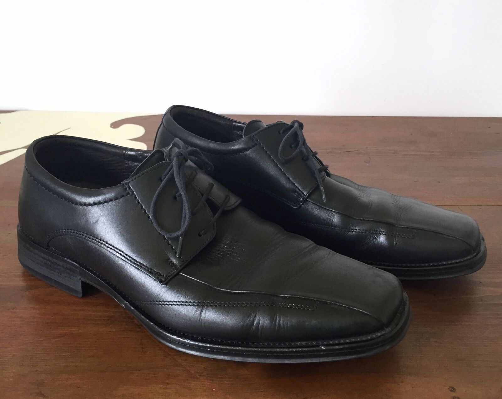 Johnston & Murphy Men's Black Leather Runoff Oxfords Dress Lace Up shoes Sz 10