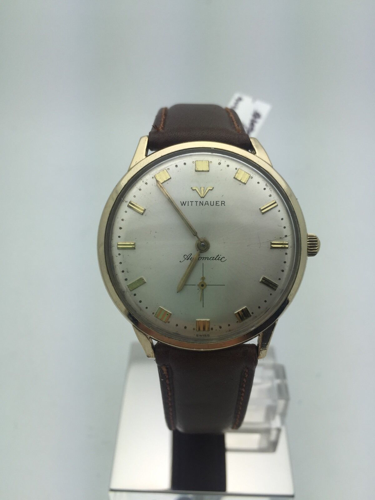 Wittnauer Men S White Dial Automatic 10k Gold Filled Brown