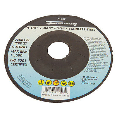"FORNEY 71807 Type 27 Stainless Steel Cut .045"" x 4-1/2"" Cut-Off Blade 7/8"" Arbor"