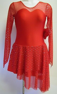 COMPETITION ICE DANCE SKATING DRESS RED SPARKLE L/S SWEETHEART ADULT XL