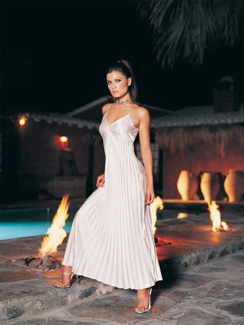 Leg Avenue Greek Godess Long Satin Pleated Off White Gown Size Medium/Large