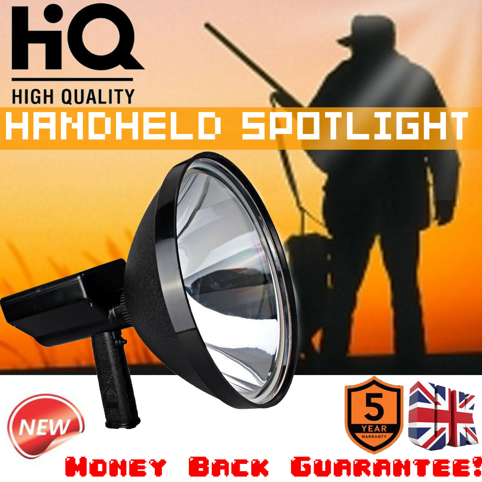 Hunting Spotlight Hand Held HID1000W 9  240mm Driving Lamp Fishing Camping Home
