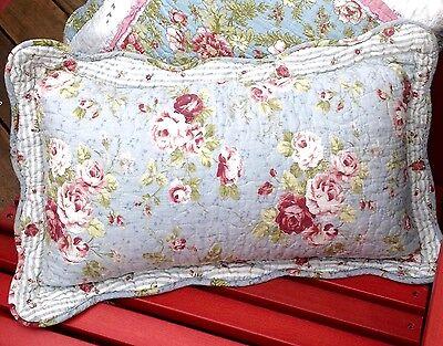 Shabby Chic Blue + Pink Roses Cushion / Throw Pillow + Insert  30x50cm