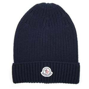 Image is loading Moncler-Ribbed-Beanie-Hat-Navy-Blue 8cc38ab82fb
