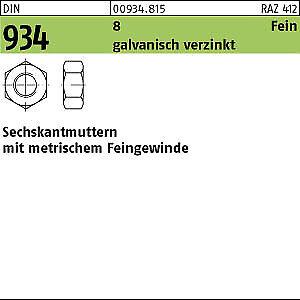 8 verzinkt M14x1,25 100 Feingewinde Sechskantmuttern DIN 934 Kl