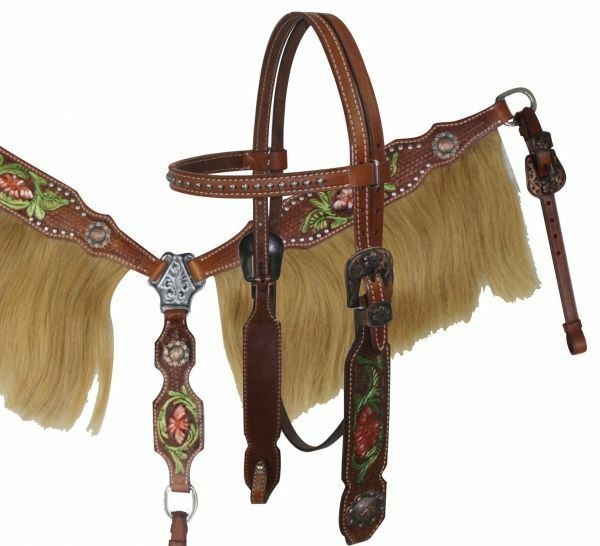 Western Saddle Horse Bridle Breast Collar Tack Set w  Real Horsehair Fringe