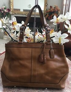 b19869edfc9c Image is loading Coach-Vintage-Large-Brown-Leather-Expandable-Carryall-Tote-