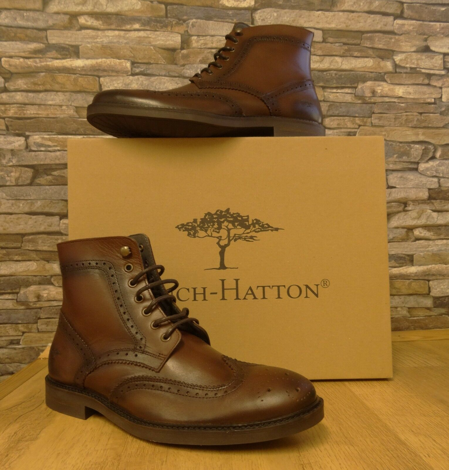 43e6e5bb7e Fynch-Hatton Mens Brown Leather Brogue Boot Size 46 12.5 New with Box  nnrvzc6736-Men's Boots