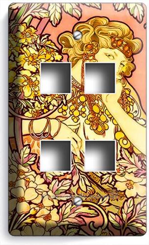 ALPHONSE MUCHA FLOWER GIRL LIGHT SWITCH OUTLET WALL PLATE ROOM NOUVEAU ART DECOR