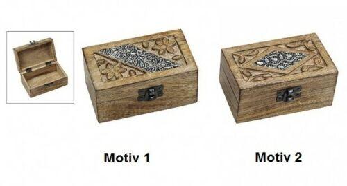 Truhe Schatulle Indien aus Holz 2-Motive 12 x 6 x 7 cm Schmuckkiste
