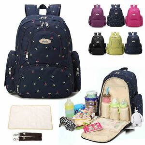 water resistant baby diaper bag nappy backpack changing bag changing pad travel ebay. Black Bedroom Furniture Sets. Home Design Ideas