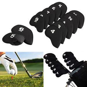 10x-Golf-Schlaegerhauben-Headcover-Abdeckung-Neopren-Huelle-Eisen-Hauben-Schwarz
