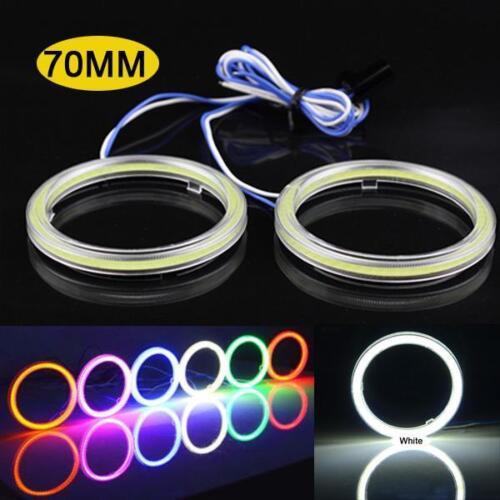 2 Pcs White 70MM Angel Eyes 60 LED COB Chip SMD Car Headlight Halo Ring Light