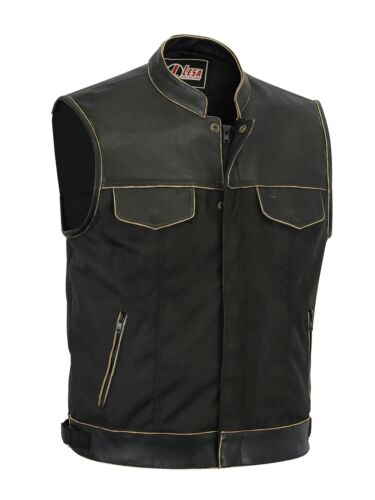 New Mens Codura Biker Waistcoat Brown Vintage Real Leather Trim Gillette Vest