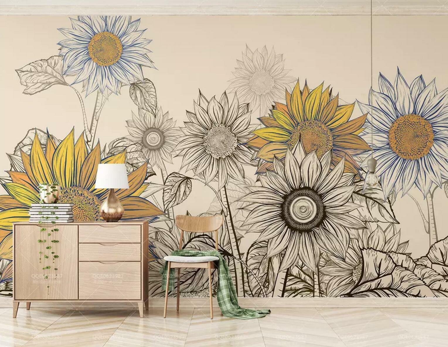 3D Sunflower Paint 51 Wall Paper Exclusive MXY Wallpaper Mural Decal Indoor wall