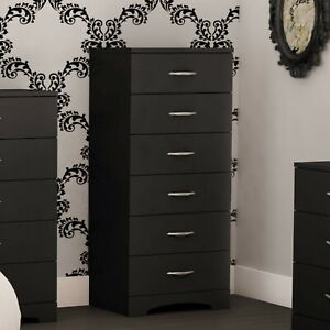 Details about 6 Drawer Black Dresser Chest Drawers Wooden Clothes Bedroom  Storage Elegant Tall