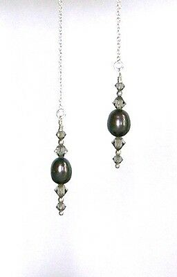 *IAJ* STERLING SILVER Thread Threader w/SWAROVSKI CRYSTAL BLACK FRESHWATER PEARL