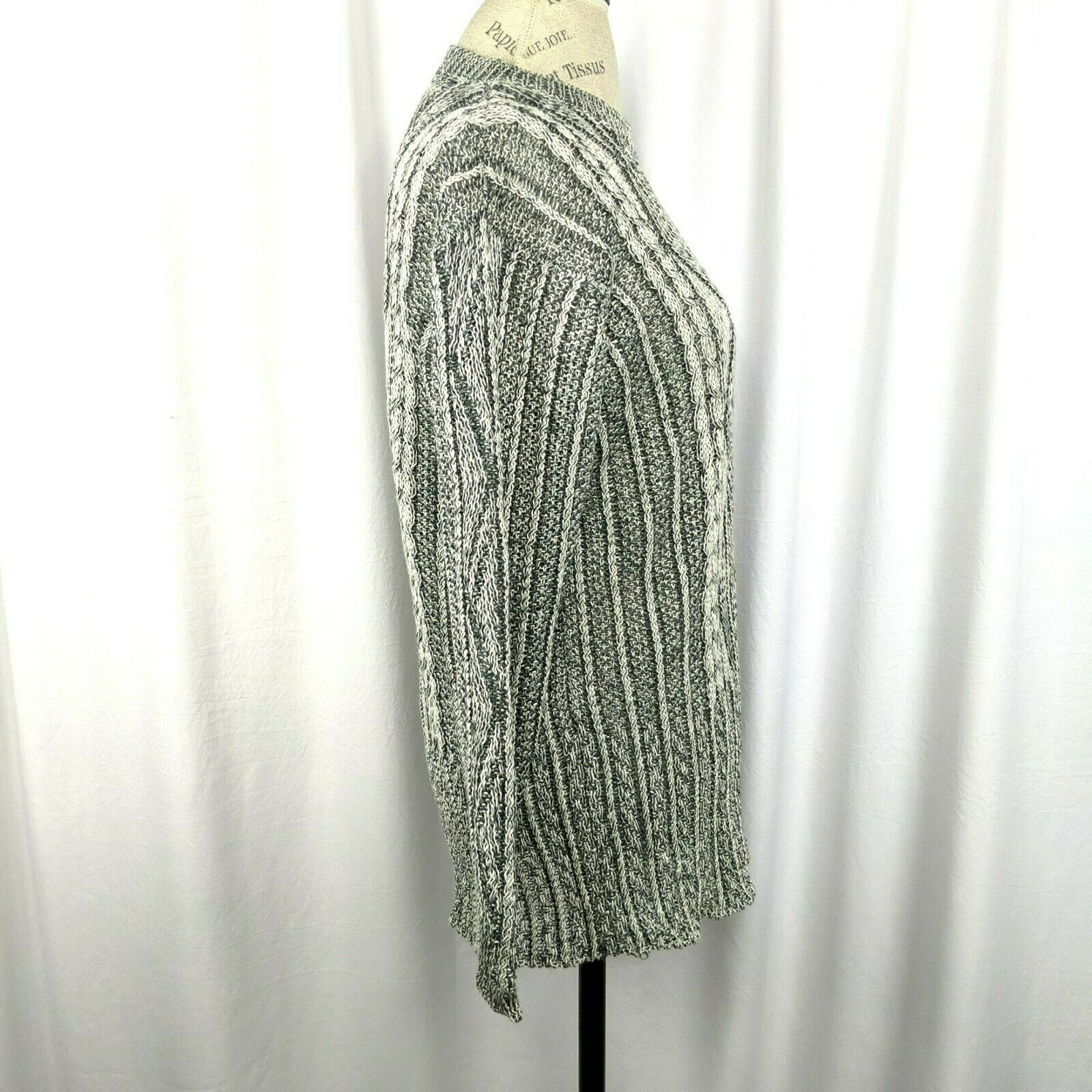 Inis Meain Gray Cream Linen Cable Knit Sweater Sz… - image 7