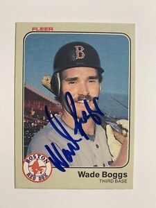 WADE BOGGS Signed 1983 Fleer #179 Autograph Boston Red Sox Auto Rookie RC HOF