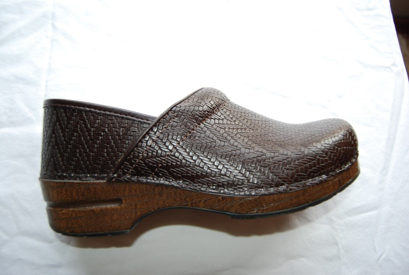 Dark Brown Woven Look Leather DANSKO Stapled Clogs EU 40 US 9.5 - 10