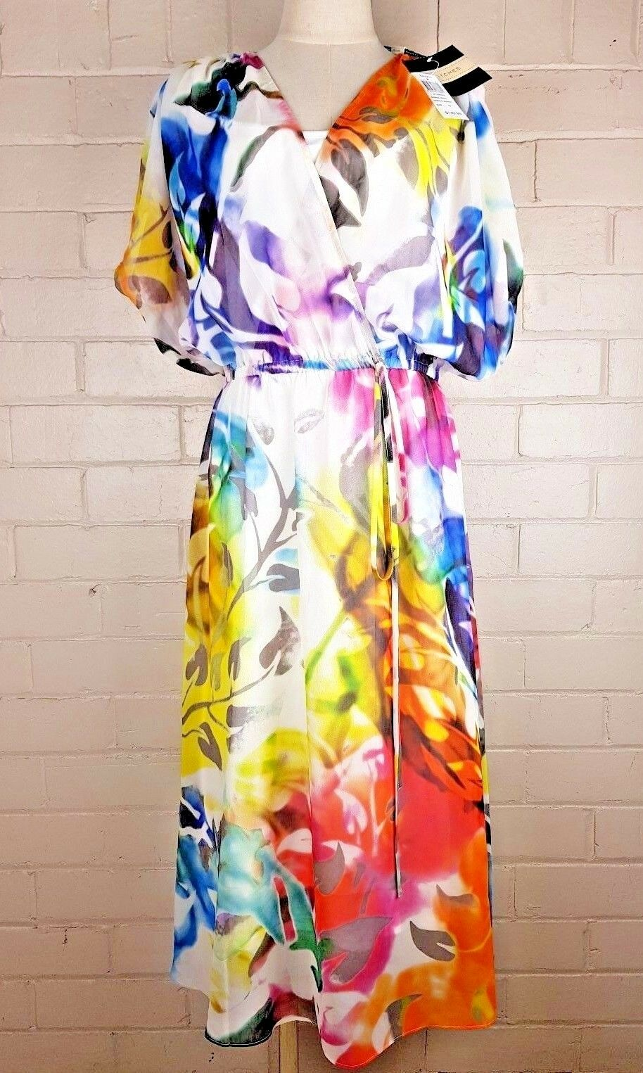 Stitches Tropical Sunrise Print Sheer Summer Dress with Slip  149.99 RRP