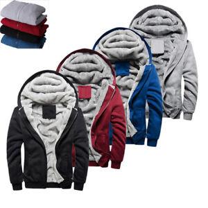 New-Mens-Fur-Fleece-Hooded-Coat-Winter-Warm-Thicken-Hoodie-Jacket-Zip-Up-Outwear