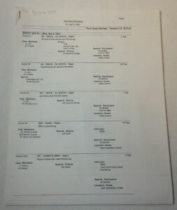 DAWSON-039-S-CREEK-set-used-paperwork-SHOOTING-SCHEDULE-Series-5-Episode-9