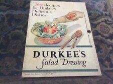 VINTAGE RECIPE BOOKLET FOR DURKEE'S SALAD DRESSING, 1930