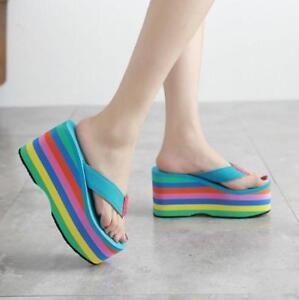Women s Rainbow Platform Slippers Flip Flops Sandals High Wedge Heel ...