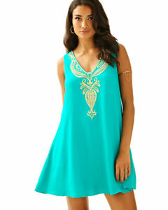 NWT-238-Lilly-Pulitzer-Owen-Dress-Agate-Green-amp-Gold-Embroidered-Swing-Size-L