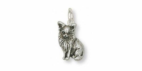 Long Hair Chihuahua Charm Jewelry Sterling Silver Handmade Dog Charm CU8-C